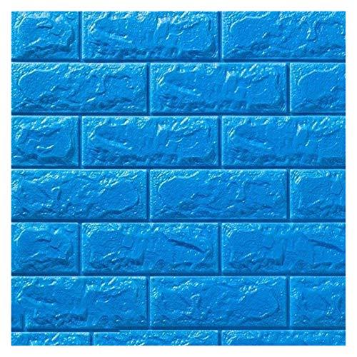 WHYBH HYCSP Tapeten Ziegelstein-Muster for den Hintergrund Wohnzimmer Schlafzimmer-Wand-Dekor Selbstklebende wasserdichte Schaum-Wand-Aufkleber (Color : Blue, Size : 70cmx38cm)