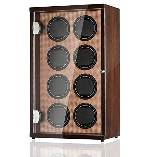 CHIYODA 8 Watch Winder for Automatic Watches with 8 Motors for 8 Watches, LCD Digital Display, 12 Rotation Modes and High Gloss Brown (Brown02)