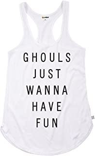Tipsy Elves Women's Ghost Shirt - Ghost Halloween Costume Tank Top That says Ghouls Just Wanna Have Fun