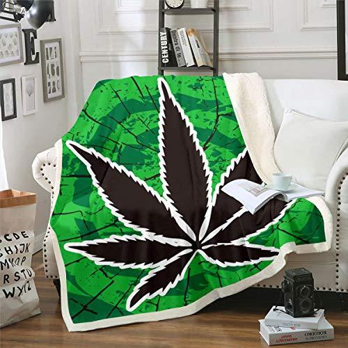 Manta de forro polar con hojas de marihuana para niños y niñas, manta de sherpa para decoración botánica geométrica, manta de felpa, verde y negro, manta difusa para sofá cama, individual 122 x 152 cm
