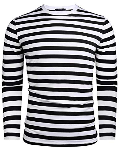 Herren Gestreiftes Shirt Longsleeve Leicht Basic mit Rundhals Ausschnitt (Schwarz&Weiß, XXL)