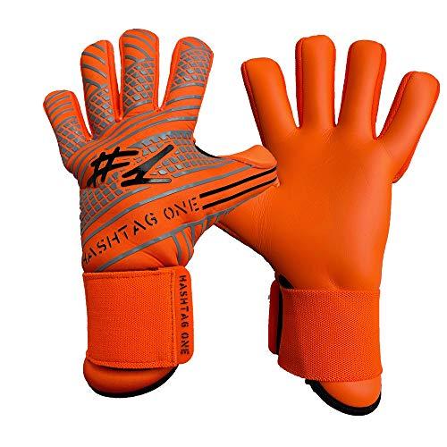 #1 Hashtagone Torwarthandschuhe für Erwachsene & Kinder - Jede Größe - - Tormannhandschuhe Herren, Kinder (9, Orange Neon)
