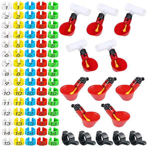 wuyule Chicken Leg Rings 75pcs Snap-in Bird Foot Rings for Birds Clip On Poultry Ankle Bands 10pcs Bird Drinkers for Turkey, Duck, Guinea Total 85pcs