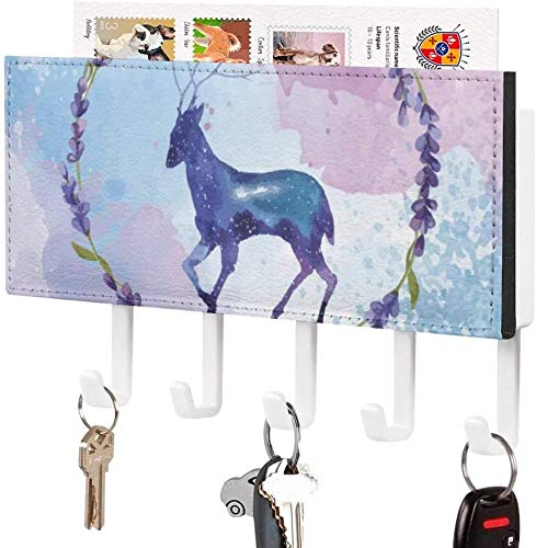 Strip with 5 Hooks - Key Holder, Wall Mounted Key Hook, Best Cool Deer Watercolor Stag Floral Reindeer Oil Painting, Wall Entryway Mail Holder, Decorative Key Organizer Rack with 5 Hooks
