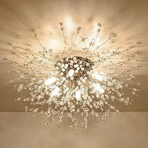 Rayofly Moderne Kristall Deckenleuchte, Feuerwerk Löwenzahn Sputnik Kronleuchter 6 Leuchte G9 LED Dimmbare Golden Pendelleuchte, Hängelampe für Schlafzimmer, Wohnzimmer, Esszimmer, Küche, Flur…