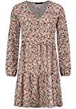 Sublevel Damen Kleid mit Blumen-Muster Langarm Herbst Frühling Light-Rose S/M