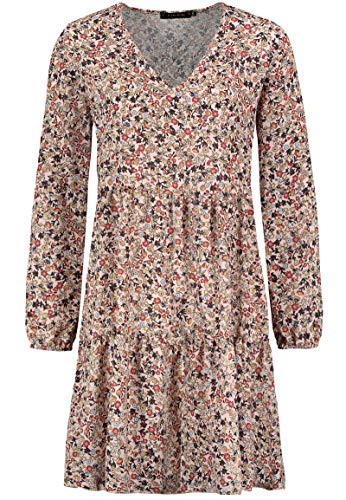 Sublevel Damen Kleid mit Blumen-Muster Langarm Herbst Frühling Light-Rose M/L