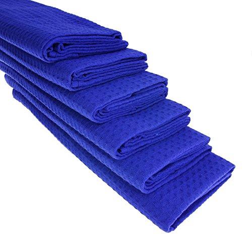 6 x Torchon 100% coton piqué gaufré en bleu
