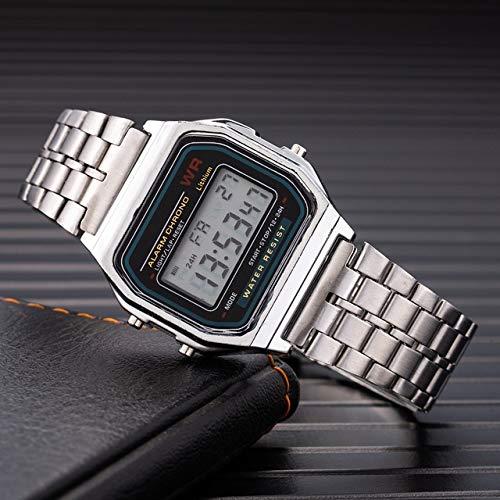 GKXAZ Frauen, Männer, Unisex-Uhr-Gold-Silber-Vintage-Edelstahl-LED Sport Militär Armbanduhr Elektronische Digitaluhr Präsens (Color : Silver)