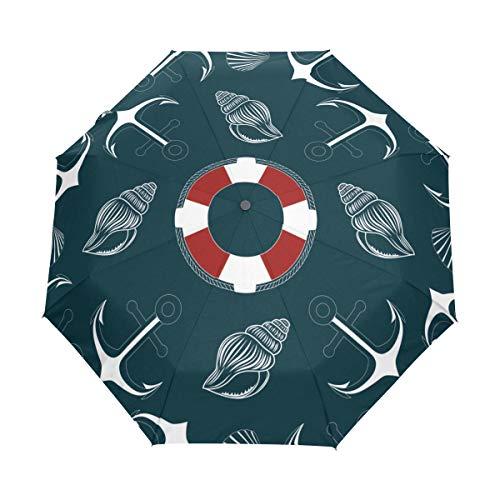 SUHETI Regenschirm Taschenschirm,Beschaffenheits Bild verankert Rettungsring Muscheln,Auf Zu Automatik,windsicher,stabil