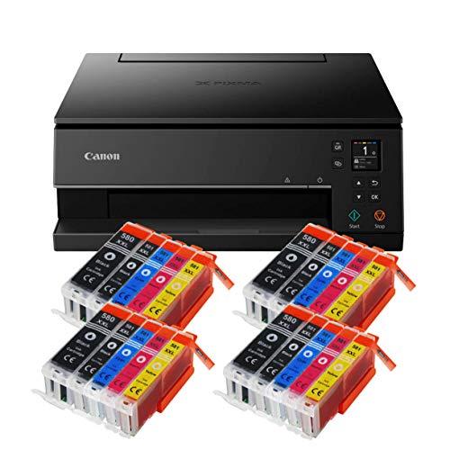 Canon Pixma TS6350 TS-6350 All-in-One 3-in-1 Farbtintenstrahl-Multifunktionsgerät (Drucker, Scanner, Kopierer, USB, WLAN, Apple AirPrint) Schwarz + 20er Set IC-Office XXL Tintenpatronen