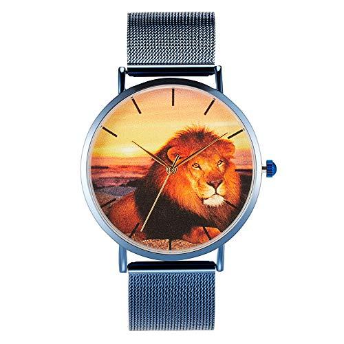 Reloj de pulsera Wild Lion de acero inoxidable relojes de cuarzo unisex regalos
