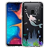 Unov Galaxy A10e Case Clear with Design Soft TPU Shock Absorption Slim Embossed Pattern Protective Back Cover for Samsung Galaxy A10e A20e 5.8 inch (Mermaid Castle)