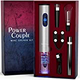 Electric Wine Opener Set and Air Pressure Wine Opener with Charger and Batteries Gift Set - Power Couple Holiday Wedding Anniversary Birthday Gift Kit with Foil Cutter Uncle Viner