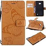 Sangrl PU-Leder Hülle Für Microsoft Lumia 640 Dual-SIM, 3D Butterfly Flip Schale Brieftasche Mit Bracket-Funktion Kartenfächer Wallet Hülle Tasche Für Microsoft Lumia 640 Dual-SIM - Gelb