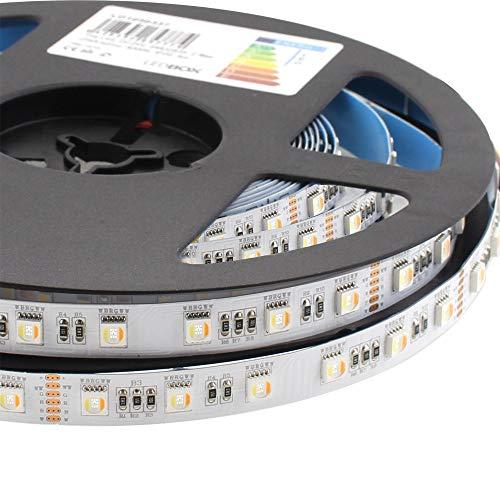 Tira LED SAMSUNG SMD5050, RGB+CCT, DC24V, 5m (60Led/m 5 en 1) - IP20, RGB + Blanco dual