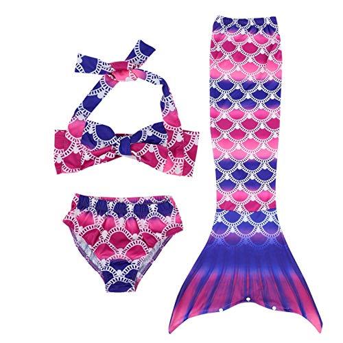 Kadimendium Conjunto de Bikini Flexible Traje de baño Sea-Maid con Traje de baño de Cola para niños para niñas