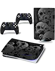 AXDNH Scary Skull PS5 Digital Edition Sticking Skin Sticker Cover Decalcomania per Playstation 5 Console & Controller PS5 Vinyl Skin Pellicola Protettiva,E