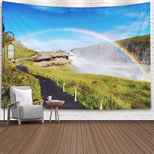 Tapiz para dormitorio, tapiz para pared, tapiz para colgar en la pared, tapiz para exteriores, cascada salvaje, agua corriente fuerte, arco iris, islandia, tapiz fresco para dormitorio, tapiz moderno