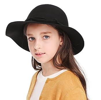 Kids Girl s Vintage Dome Wool Felt Bowler Cap Floppy Hat Bow,Black