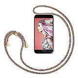 ZhinkArts Handykette kompatibel mit Samsung Galaxy A5 2017 (A520) - Smartphone Necklace Hülle mit Band - Handyhülle Hülle mit Kette zum umhängen in Rainbow