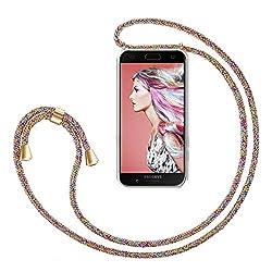 ZhinkArts Handykette kompatibel mit Samsung Galaxy A5 2017 (A520) - Smartphone Necklace Hülle mit Band - Handyhülle Case mit Kette zum umhängen in Rainbow