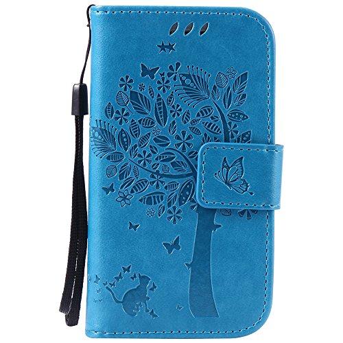 Nancen Compatible with Handyhülle Samsung Galaxy S3 Mini / i8190 Flip Schutzhülle Zubehör Lederhülle mit Silikon Back Cover PU Leder Handytasche