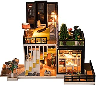 SEPTEMBER Modern Urban Fashion Villa Miniature Furniture Kits LED Lights Child Toy Creative Birthday Gift Xmas Gift
