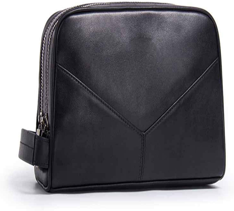 Herren Handtasche Leder Clutch Mode Leder Handtasche Multifunktions-Waschbeutel Schwarz Schwarz Schwarz B07HC97JN2 cfd817