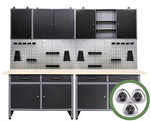 Mobiliario para taller Ondis24 de 7 piezas, banco de