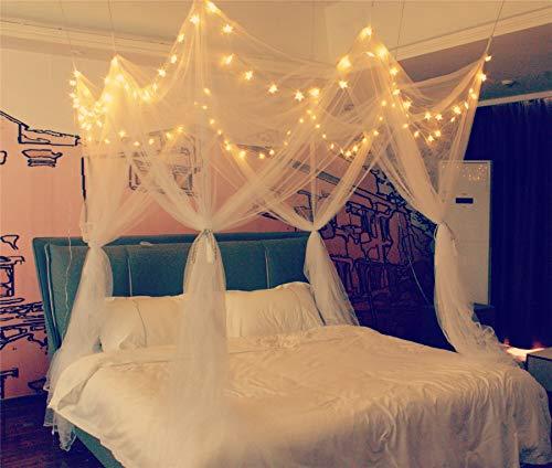 Betthimmel mit 8 Ecken, mit 100 LED-Lichtern, batteriebetrieben, Moskitonetz – einzigartiger Stil, 4 Türen, quadratisch, Betthimmel, Vorhang, Vordach – empfohlen für Doppelbett, Queen-Size-Bett…