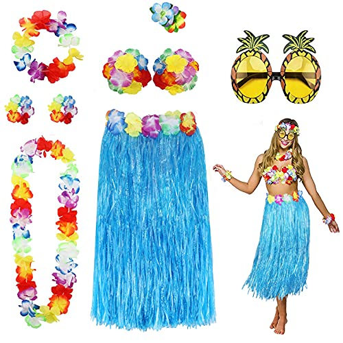 PHOGARY 8PCS Falda de Hula Kit de Accesorios de Vestuario para Hawaii Luau Party - Bailando Hula con Flor Bikini Lei Hawaiano Pinza para el Cabello, Gafas de Sol (Azul)