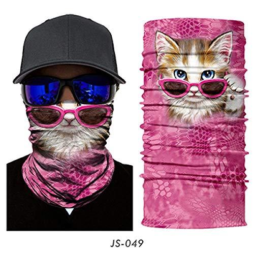 XCLWL Buff Neck 3D Cat Hond Naadloze Gaiter Shield Tube Balaclava Fietsen Vissen Ski Biker Bandana Hoofdband Sjaal