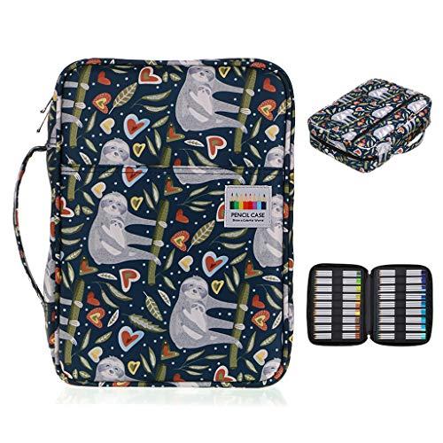 BTSKY Colored Pencil Case 220 Slots Pen Pencil Bag Organizer with Handy Wrap Portable- Multilayer Holder for Prismacolor Crayola Colored Pencils Gel Pen Sloth
