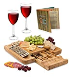Natural Bamboo Cheese Board - Wooden Charcuterie Serving Plate & Meat Cutting Platter Tray with Cutlery Server...