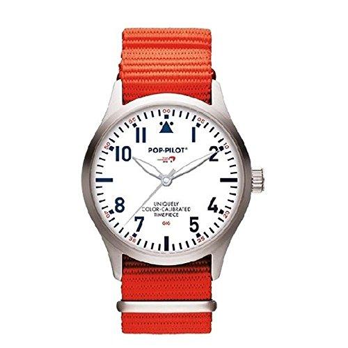 Reloj Cuarzo POP-PILOT para Hombre con Blanco Analogico Y Naranja Nailon P4260362632831