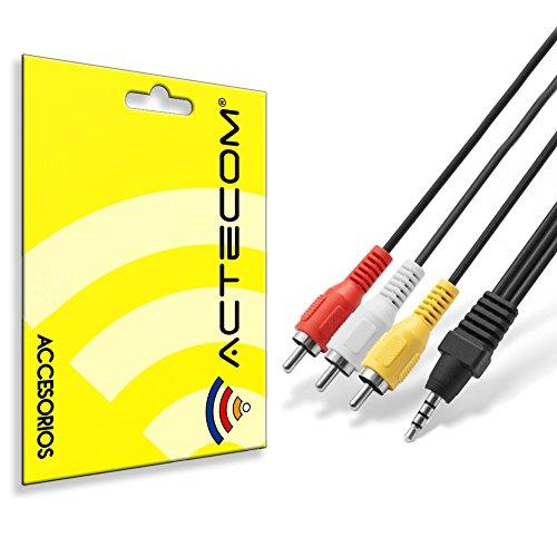 actecom Cable Audio y Video Estereo Mini Jack 3.5 mm A 3 RCA Macho...