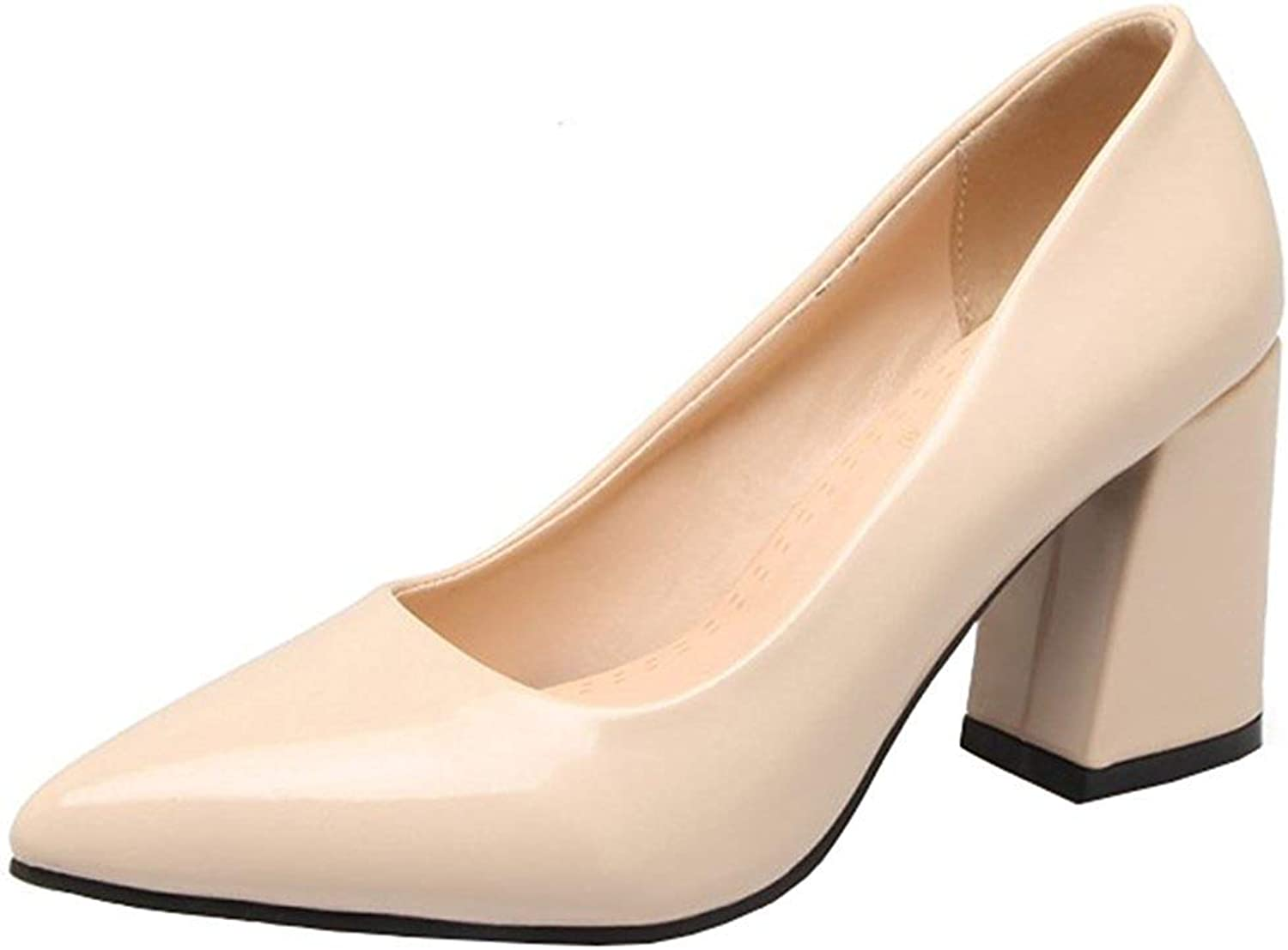 Gcanwea Women's Dressy Pointed Toe Low Cut Block High Heels Slip On Pumps shoes Simple Stylish Breathable Patent Leather Classic Casual Skinny Ladies Sexy Comfortable Pink 4 M US Pumps shoes