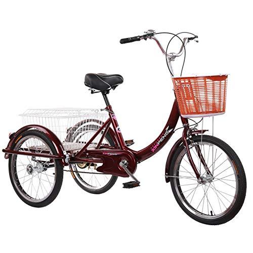 SN Triciclo para Adultos con Cesta 20 Pulgadas Marco De Aleación Trike 3 Ruedas Seniors Wheel Cargo Bicicleta para Adultos Y Personas Mayores (Color : Wine Red)