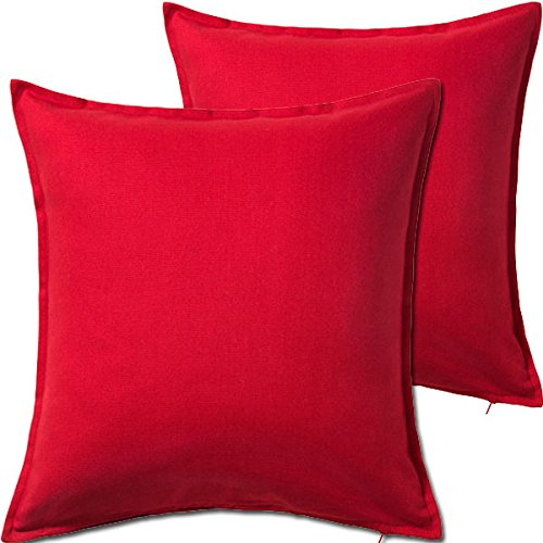 """2 Pack Solid Red Decorative Throw Cushion Pillow Cover Cushion Sleeve for 20""""x 20"""" Insert , 100 Percent Cotton"""