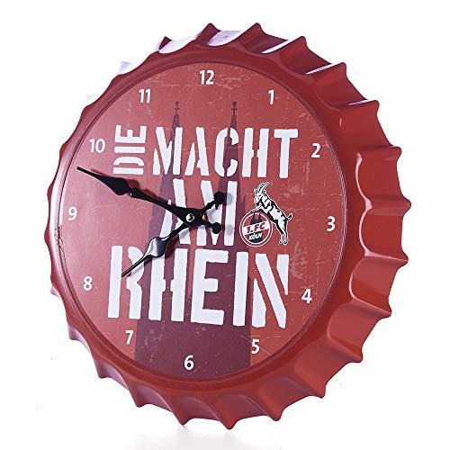 1. FC Köln Wanduhr - Kronkorken - Uhr, Wall Clock - Plus Lesezeichen I Love Köln