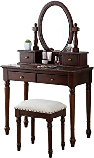 JIAXIAOYAN Blanco Estilo tocador de madera maciza de Tocador tocador con taburete de 4 Cajón Oval Espejo ajustable jueg...