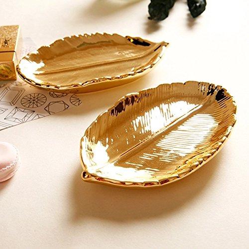 Treasure-House Schmucktablett mit goldfarbenen Blättern, Keramikteller, dekorativer Teller für Halsketten, Ohrringe, Ringe, Armbänder