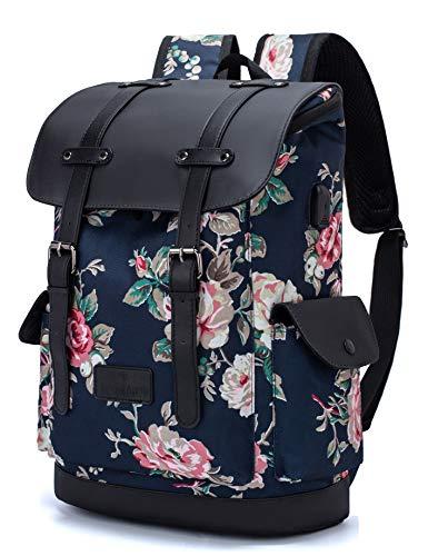 Laptop Rucksack Damen Herren 15,6 Zoll Schulrucksack Jungen Teenager Unisex College Schule Daypacks Reisetasche Büchertaschen mit USB-Ladeanschluss für Arbeit/Campus/Freizeit/Frauen/Blumen