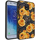 MINITURTLE Compatible with Samsung Galaxy J7 (2018), J7 Aero, J7 Aura, J7 Crown, J7 Eon, J7 Refine, J7 Star, J7 Top Slim Hard Embossed Shell Grip Hybrid Case Protection - Bumble Bee Flowers