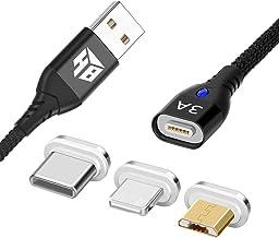 Hemamba USB a Dispositivos iOS, USB-C y Cable Micro USB Cable magnético 3 en 1 de Alta Velocidad 3A. El Cable magnético más Alto clasificado,Carga rápida y velocidades de transferencia de datos(1M)
