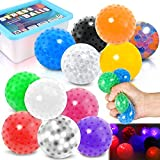 12 Pack Sensory Stress Ball Set LED Fidget Squishy Ball with Water Bead for Kids/Adults Anxiety...