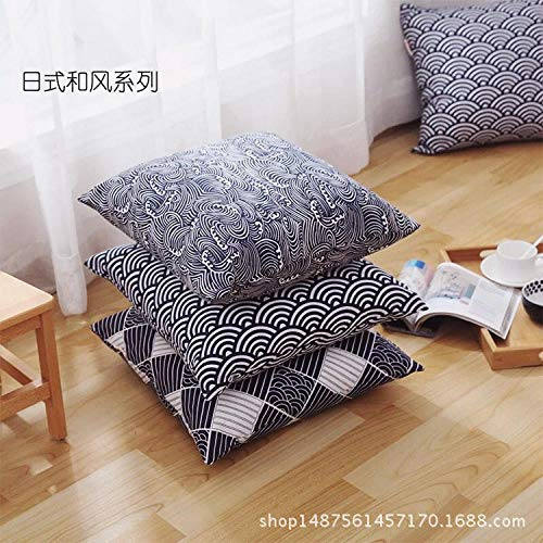 Japanese style simple cotton linen pillow Chinese style home living room square pillowcase@Pillow core_45*45cm