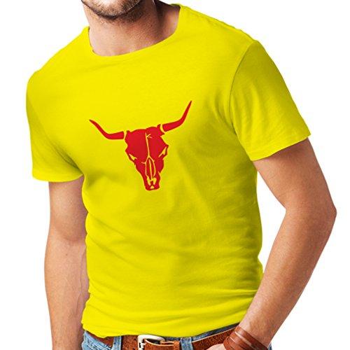 lepni.me Maglietta da Uomo Teschio di Toro - Idee Regalo Divertenti per Cacciatori, tiratori, Cowboy (Small Giallo Rosso)