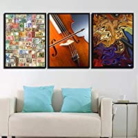 SJYHBN アートフレーム カラフルなコインとギター ポスター インテリア絵画壁絵ポスター現代壁の絵部屋の装飾壁掛けアート 50 x 70 cm x 3パネル (木枠付きの完成品)